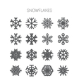 Set of simple monochromatic snowflake icons vector image