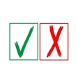 Tick and cross sign in color square isolated on vector image vector image