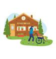 volunteers help people inscription nursing home vector image