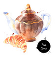 watercolor tea pot painted isolated croissant vector image vector image