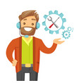 young caucasian white technical support operator vector image vector image