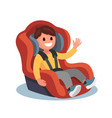 child sits in a red car seat vector image