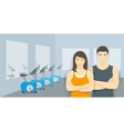 Personal fitness trainers asian man and woman in vector image