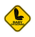 baby on board sign with child car seat in yellow vector image