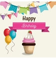 birthday card cupcake sweet party vector image