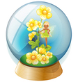A crystal ball with pink flowers and a fairy vector image vector image