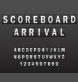 alphabet on scoreboard set white letters of vector image
