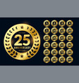 anniversary labels or badge in golden color set vector image vector image