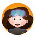avatar is a fun diver cartoon portrait of a woman vector image