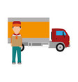 box man and truck design vector image vector image