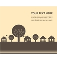 card template with houses and trees vector image vector image