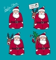 Cartoon Santa Claus with gifts and reindeer vector image vector image