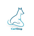 cat and dog line art vector image vector image