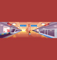 city subway station cartoon interior vector image vector image