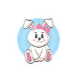 cute smiling rabbit - flat cartoon style vector image
