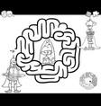 fantasy maze coloring page vector image vector image