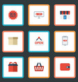flat icons purse big sale bag and other vector image vector image