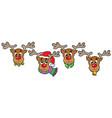 four cute christmas deers vector image