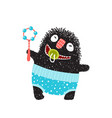 funny hairy monster badesign with rattle vector image vector image