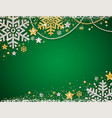 green christmas background with frame of golden vector image