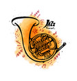 hand drawn french horn jazz music concept ink vector image