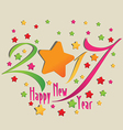 Happy new year 2017 star and colorful vector image vector image