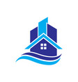 home building cityscape wave logo image vector image