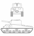 m4 sherman tank outline only vector image vector image