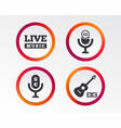 musical elements icon microphone live music vector image vector image