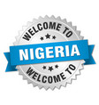 nigeria 3d silver badge with blue ribbon vector image vector image