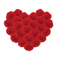 Red roses in shape of heart vector image vector image