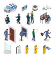 security systems isometric icons vector image vector image