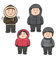set of people in winter clothes vector image vector image
