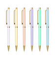 set slim ballpoint pens with golden buttons vector image vector image