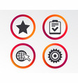 star and globe signs checklist gear vector image
