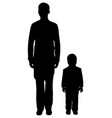 teen boy and kid standing near silhouette vector image vector image