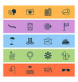travel icons set with cactus backpack road and vector image