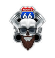 vintage skull and route 66 logo vector image