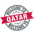 welcome to qatar red round vintage stamp vector image vector image