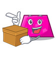 with box trapezoid character cartoon style vector image vector image