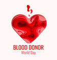 world blood donor day - red paper cut heart vector image vector image