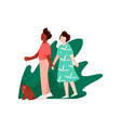 young man and woman walking holding hands on vector image vector image