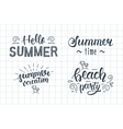 Summer hand lettering set Summer typographic and vector image