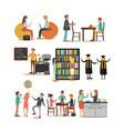 set of university people icons in flat vector image