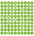 100 digital marketing icons hexagon green vector image vector image