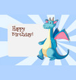 a dragon on birthday card template vector image vector image
