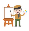 artist and blank canvas cute character flat vector image