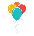 bunch of three colorful celebration balloons icon vector image vector image