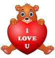 cartoon bear holding red heart vector image vector image