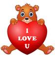 cartoon bear holding red heart vector image